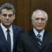 Romero Jucá e Michel Temer durante entrega da nova meta fiscal no Senado