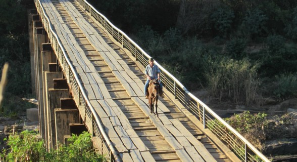 Cavaleiro faz a travessia de 154 metros na ponte sobre o Rio Araçuai, na BR-367(1200)