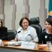 Ana Julia e as senadoras Gleisi Hoffmann (PT-PR) e Fátima Bezerra (PT-RN), que presidiu a audiência pública na CDH