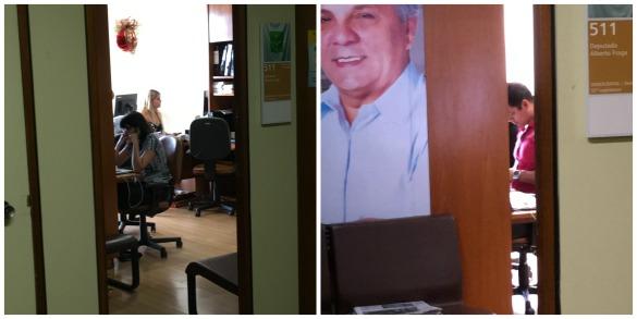 Filha de Fraga, Bruna Brasil (loira ao fundo) e seu marido, João Ribeiro Neto (camisa rosa) trabalham no gabinete do deputado