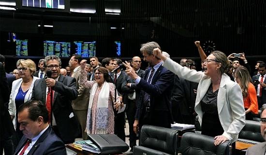 Oposicionistas festejam em plenário a aprovação do destaque