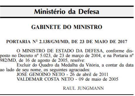 Ministério da Defesa retira condecoração dada a Genoino e Valdemar