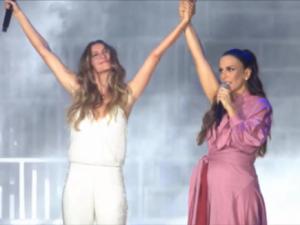 """Ao lado de Ivete Sangalo, Gisele deu início à jornada """"fora Temer"""" no Rock in Rio"""