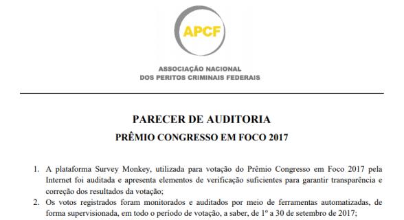 Parecer da APCF atesta idoneidade da votação do Prêmio Congresso em Foco