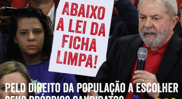 PCO divulgou em sua página no Facebook montagem em foto de Lula na qual pede a revogação da lei que barra candidatos condenados na Justiça