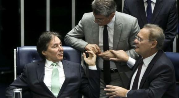 Os senadores Eunício Oliveira, Romero Jucá e E