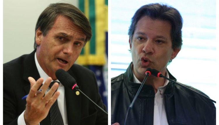 A diferença entre Jair Bolsonaro (PSL) e Fernando Haddad (PT) diminuiu para seis pontos percentuais