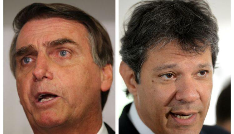 Jair Bolsonaro tem 28,2% contra 25,2% de Fernando Haddad, segundo pesquisa CNT/MDA