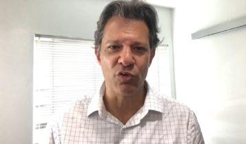 O petista Fernando Haddad em vídeo à militância