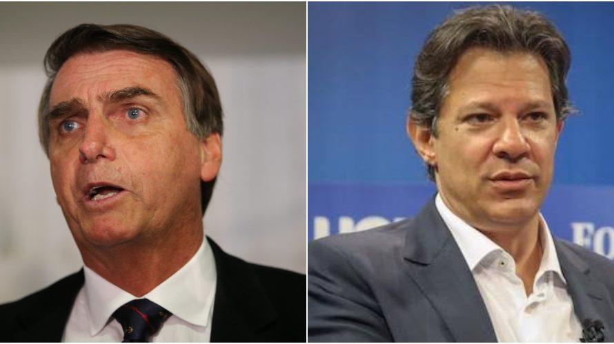 Pesquisas Ibope e Datafolha apontam segundo turno entre Jair Bolsonaro (PSL) e Fernando Haddad (PT)