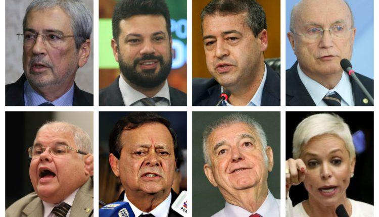 Em sentido horário, os deputados Antonio Imbassahy, Leonardo Picciani, Ronaldo Nogueira, Osmar Serraglio, Lúcio Vieira Lima, Jovair Arantes, Nelson Marquezelli e Cristiane Brasil