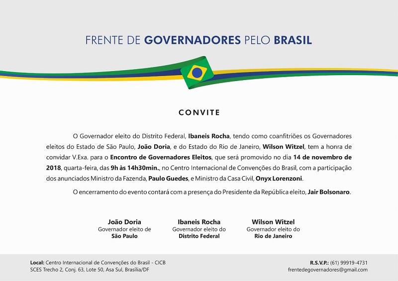 Convite para o encontro de governadores