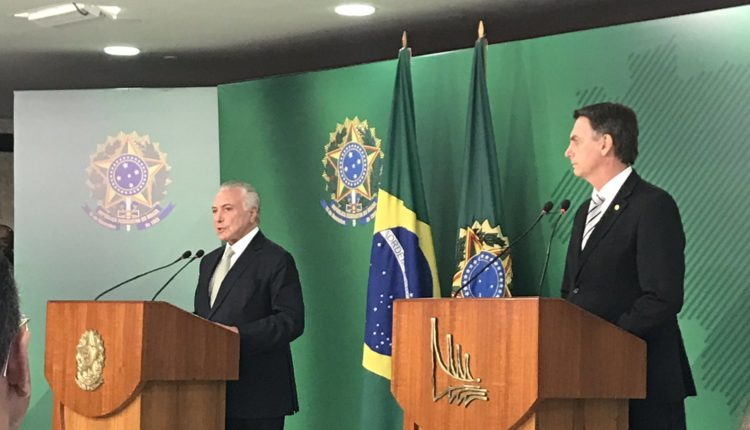 Michel Temer e Jair Bolsonaro no Palácio do Planalto