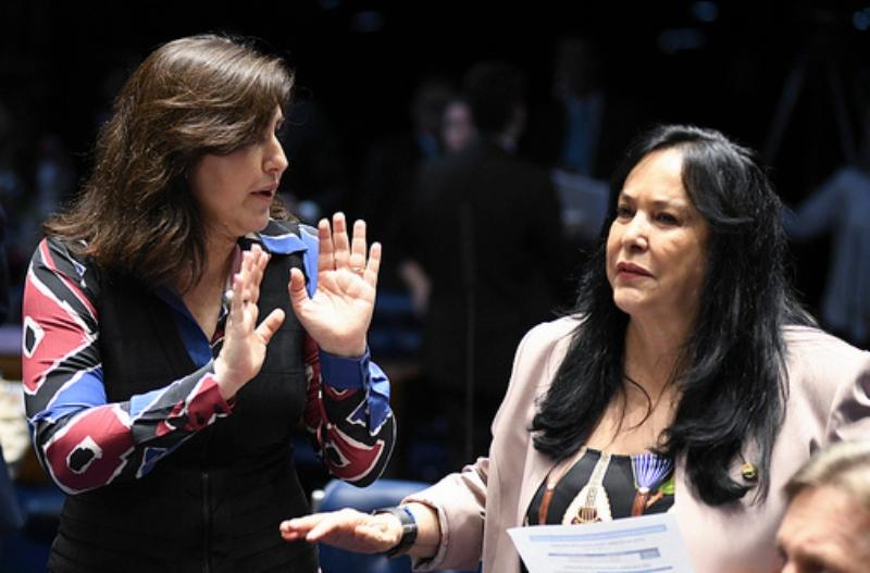 Presença feminina: Simone Tebet e Rose de Freitas trocam ideias em plenário durante votação do projeto