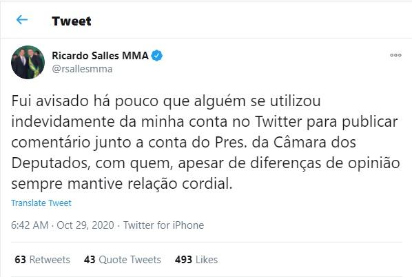 Tweet de Ricardo Salles publicado na manhã desta quinta -feira <div class='fotografo'>Reprodção</div>