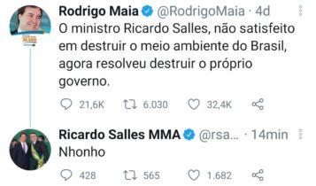 Tweet de Ricardo Salles contra o presidente da Câmara, Rodrigo Maia, na noite de quarta-feira (28)