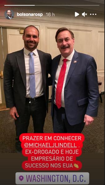 No momento da invasão, Bolsonaro postou foto com Mike Lindell, empresário e confidente de Trump . Crédito: @bolsonarosp no Instagram