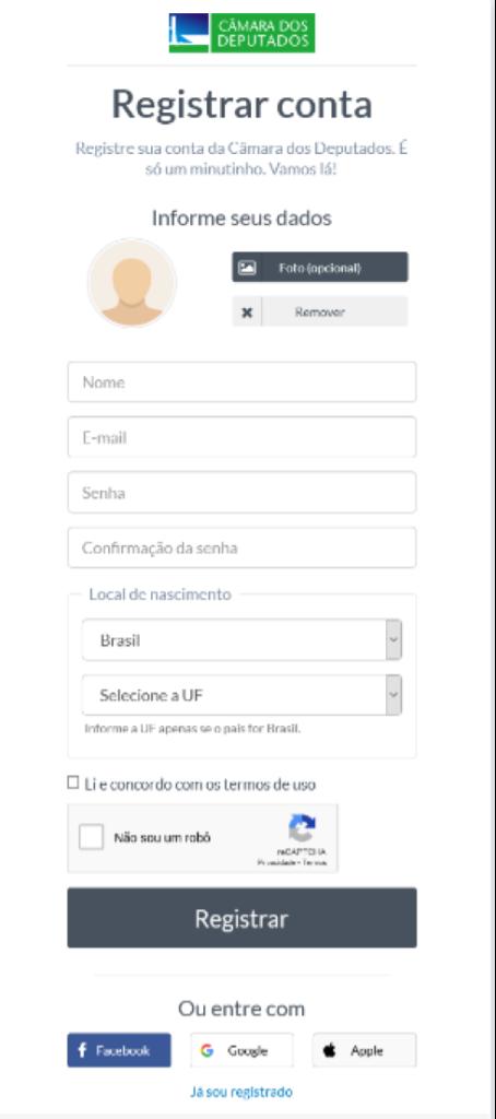 Formulário de inscrição do site da Câmara dos Deputados, que também exige captcha