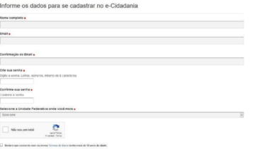 Formulário do Senado para cadastro no E-cidadania