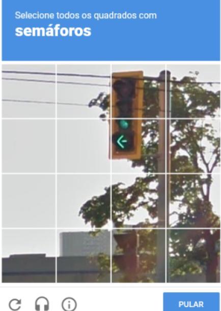 Exemplo de captcha visual, ferramenta desenvolvida pelo google
