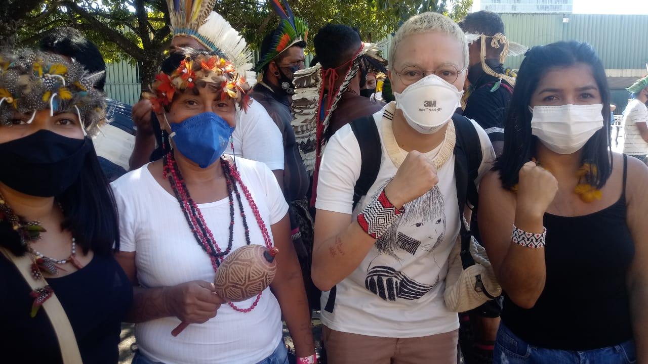 Manifestação de indígenas contra PL de demarcação de terras <div class='fotografo'> Tiago Rodrigues </div>