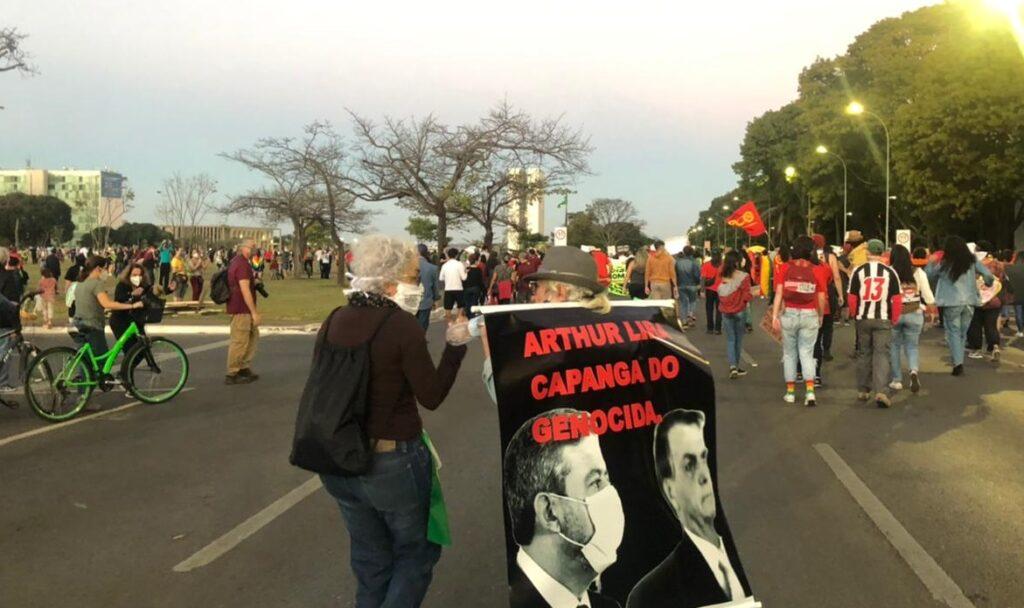 Manifestações em Brasília contra Jair Bolsonaro apontam o presidente da Câmara, Arthur Lira (PP-AL), como cúmplice do governo federal [fotografo]Congresso em Foco[/fotografo]